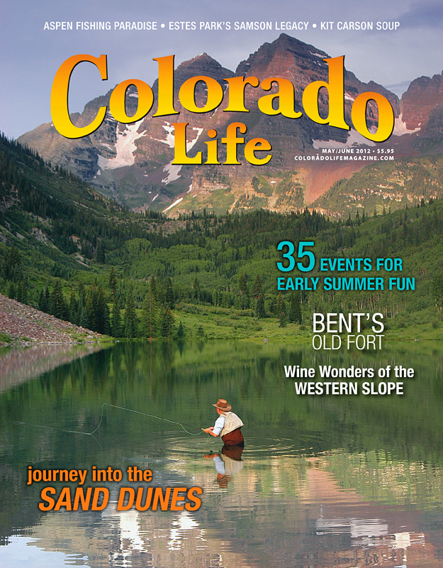 Colorado Life Magazine cover: Maroon Bells fishing