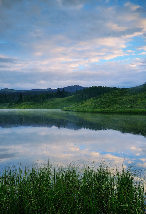 A misty morning at Muddy Pass Lake near Steamboat Springs.