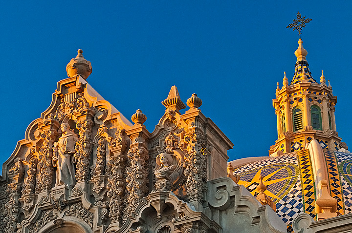 The California Building, which houses the Museum of Man in Balboa Park, catches the last rays of afternoon sun.