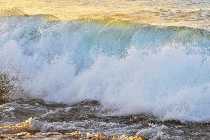 A crashing Pacific wave at La Jolla.