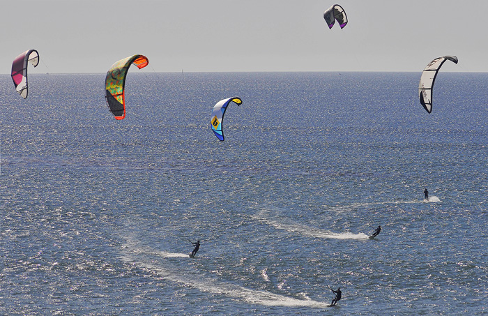 Windsurfers at Pacific Beach near Mission Bay.