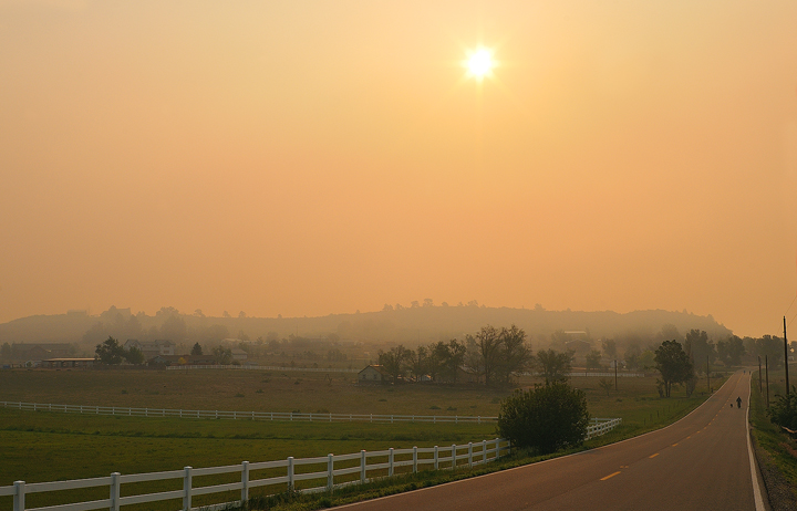 Thick smoke west of Loveland, south of Masonville, on the morning of June 12.