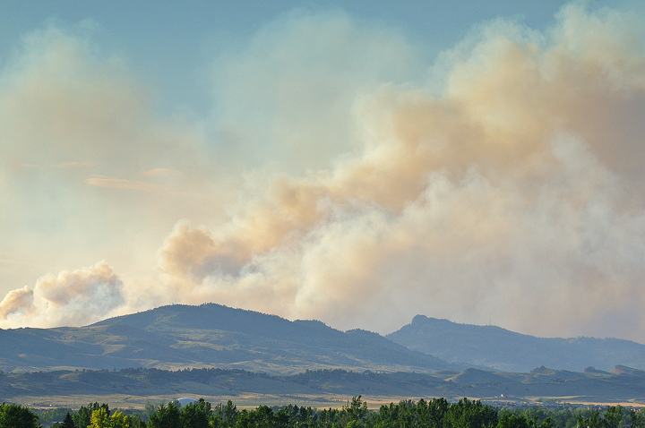 Smoke plumes seen from north of the High Park Fire area in Loveland.