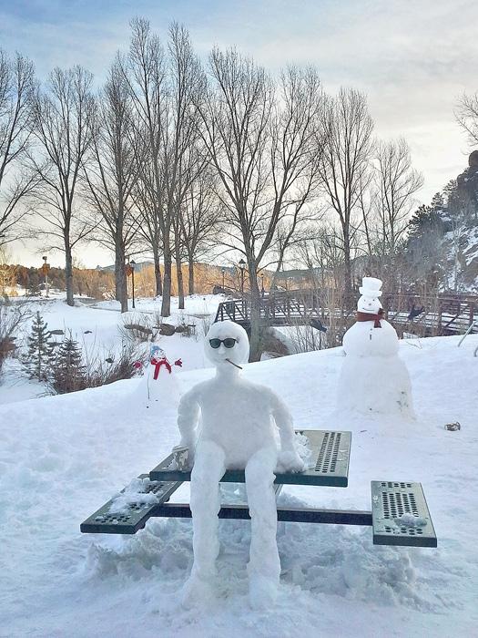 Snowmen at Kind Coffee in Estes Park, Colorado.