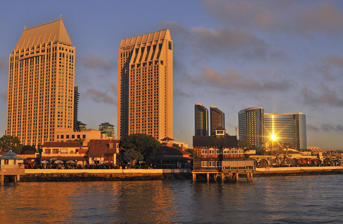A view of San Diego's Embarcadero during a beautiful sunset.