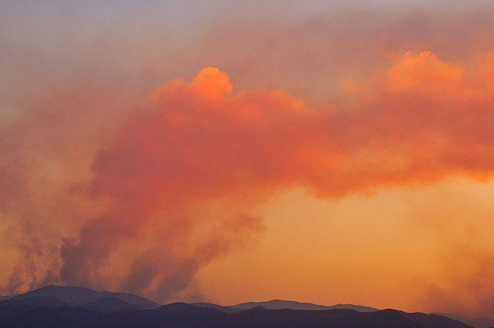 Smoke plumes captured at sunset on June 23, from Wellington, Colorado.